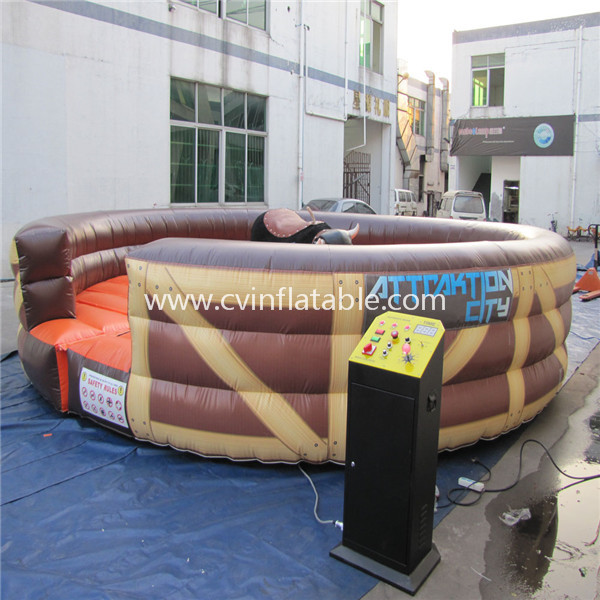 inflatable mechanical bull with mat