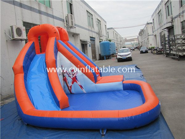 small inflatable slide with pool