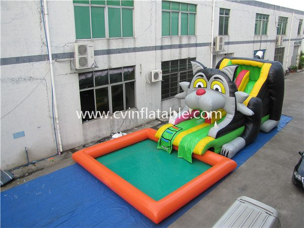inflatable cartoon slide with pool (3)