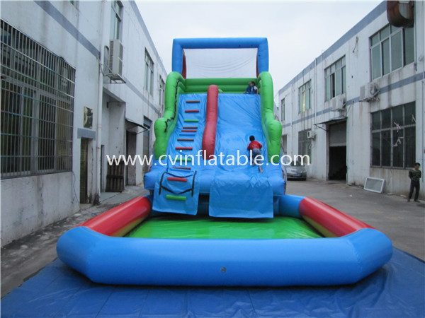 inflatable water slide with pool (10)