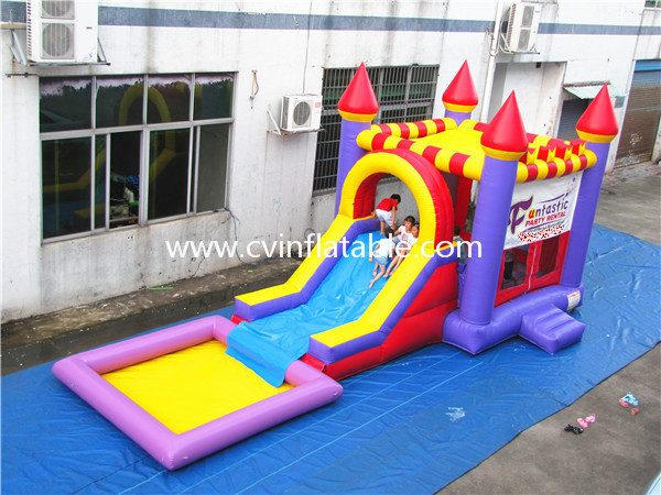 inflatable castle slide with pool